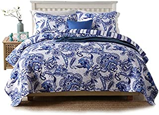 PERYOUN Pure Cotton 3-Piece Quilt Set, Blue Flower Print Bedspread Set, Coverlet Bed-Cover, Queen Size