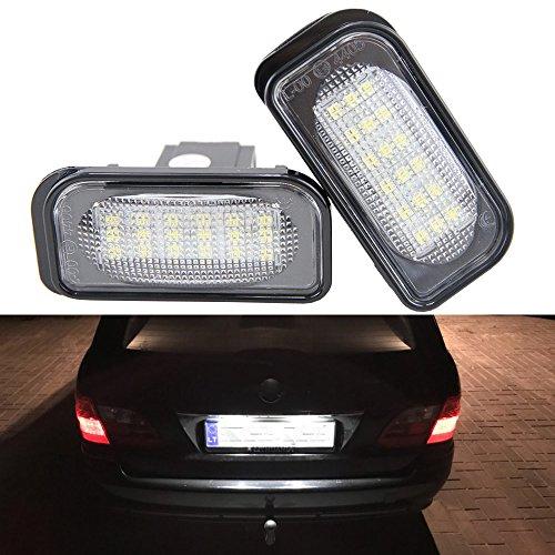 Generic Lot de 2 LED Lampe de plaque d'immatriculation auto 18smd LED Tail Light Kit sans erreur pour Benz W203 4d Sedan Blanc erreur gratuit