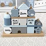 Geschenk zur Geburt Junge'Steckspiel Haus' blau - bedruckt personalisierbar - Stapelturm mit Name & Geburtsdaten