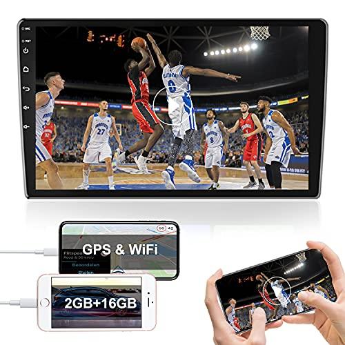 Autoradio Auto Bluetooth Touch screen Autoradio Android 10 pollici 2 Din Supporta GPS WIFI FM Radio Collegamento Specchio del Telefono Cellulare Video per Auto Doppio USB[2G+16G]