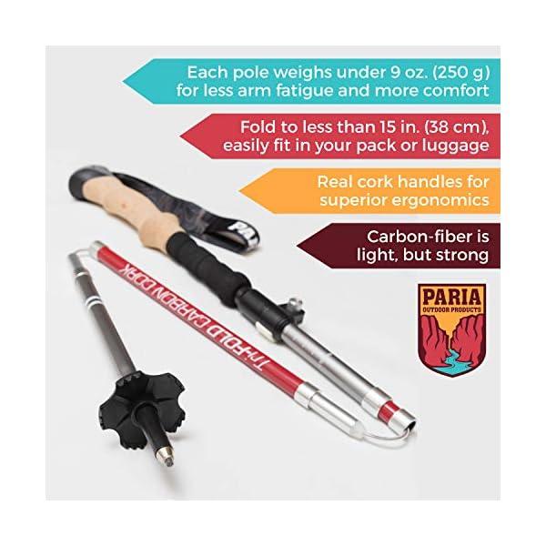 Tri-fold Carbon Cork bastones de trekking/Sticks–plegable, plegable, ajustable, y ultraligero–Ideal para senderismo, senderismo, Backpacking y raquetas 1