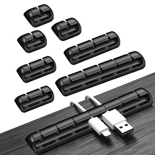 Organizador Cables Escritorio, 8 Piezas Clips Sujetacables Para Cables dDe AlimentacióN, Cables de Carga USB, Hogar y Oficina, etc