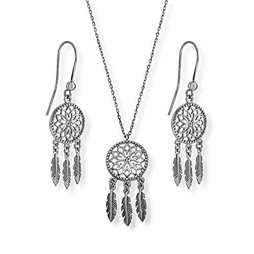 Lilly Marie Mujer Plata Juego de joyas plata atrapasueños colgante original de Swarovski Elements incolora longitudes ajustable Bolsa de satén, Freundin Set de regalo