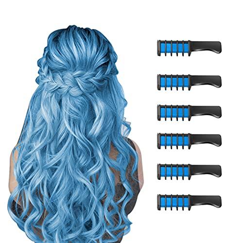 6 Stück Haarkreide Kamm Temporäre Färben HaarfarbeKamm für Kinder Auswaschbar Ungiftig Perfektes für Mädchen Erwachsene Geburtstag Party Erntedankfest Halloween Cosplay(Blau)