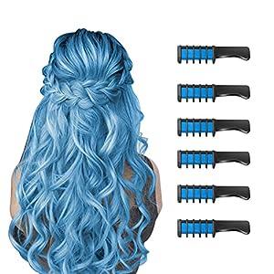6 Piezas Hair Chalk Peine de Tiza para el Pelo para Niñas y Niños, de Color Brillante Temporal para Niños Niñas Regalos, Lavable, Tinte para el Pelo para, Cumpleaños, Cosplay, Fiesta(Azul)