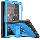 MoKo Funda Compatible con Kindle Fire 7 Tablet (9th Generation - 2019 Release), Shockproof Híbrido Resistente Smart Case con Protector de la Pantalla Incorporado - Azul & Gris Oscuro