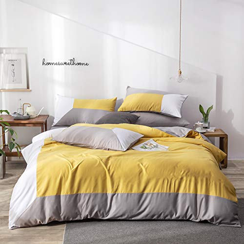 Lanqinglv Bettwäsche Set 155 x 220 cm 2 Teilig Gelb Grau Weiß Wendebettwäsche 120g Mikrofaser Uni Einzelbett Bettbezug Deckenbezug mit Reißverschluss und Kissenbezüge 80x80cm