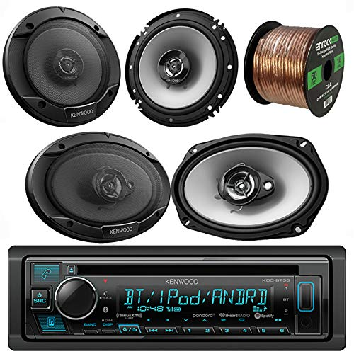 Kenwood Car CD MP3 Receiver with Bluetooth AM/FM Radio Player Bundle 2 6x9 Speakers, 2 6.5 Inch...