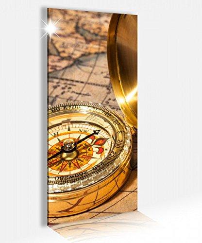 Acrylglasbild 40x100cm Vintage antike Karte gold Kompass Retro Acrylbild Glasbild Acrylglas Acrylglasbilder 14A2681, Acrylglas Größe2:40cmx100cm