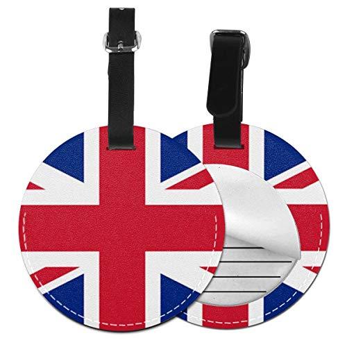 Etiquetas De Equipaje De Cuero Sintético Identificación De Nombre con Cubierta De Privacidad Trasera para Maleta De Viaje, Reino Unido Banderas Black Union Inglaterra