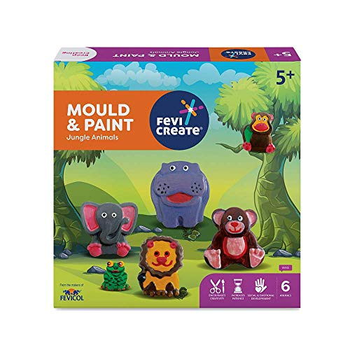 Pidilite Fevicreate DIY Mould and Paint Jungle Animals Craft Kit for Kids