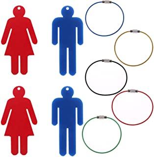 OBANGONG 4 Pcs Men's & Women's Acrylic Restroom Keychain Tags with 5 Pcs Wire Rings for Office Bathroom Designating Keys