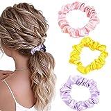 Awanka Conjunto de coleteros de pelo de gasa rosa, varios coleteros de seda, soporte para coletas, bandas elásticas para el pelo para mujeres y niñas, 3 piezas (amarillo)