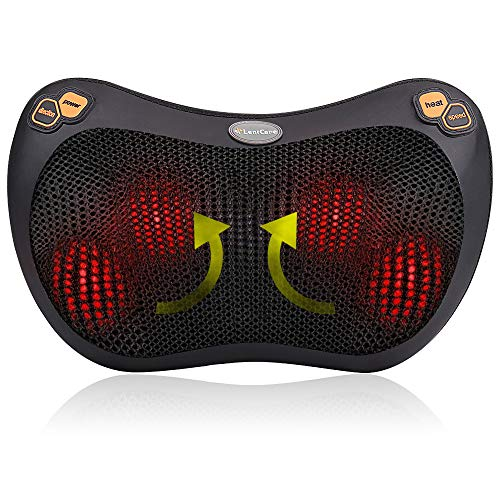 Shiatsu Pillow Massager - Neck Back Shoulder Massage with Heat Deep Tissue Kneading for Full Body Muscle Pain Relief Portable Relaxation in Car Home and Office
