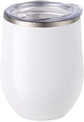 Maars Bev Stainless Steel Stemless Wine Glass Tumbler with Lid, Vacuum Insulated 12 oz Cup | Spill Proof, Travel Friendly, Classic Cocktail Drinkware - White