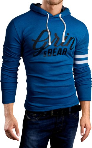 Grin&Bear Slim Fit Hoodie Kapuzenpullover Sweatshirt Jacke Hemd, Petrol Bedruckt, L, GB101