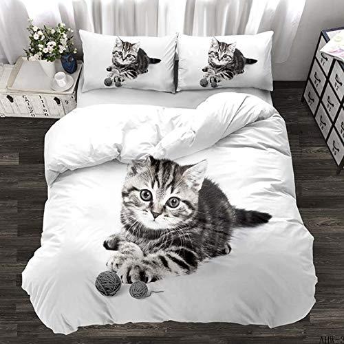 NFDF Lindo juego de cama de gato, funda nórdica gris de gatito, poliéster, suave y cómoda (E, doble (200 x 200 cm)