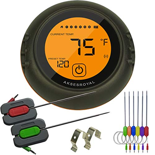 AKSESROYAL Wireless Meat Thermometer for Grilling, 6 Probes, Digital Cooking BBQ Bluetooth...