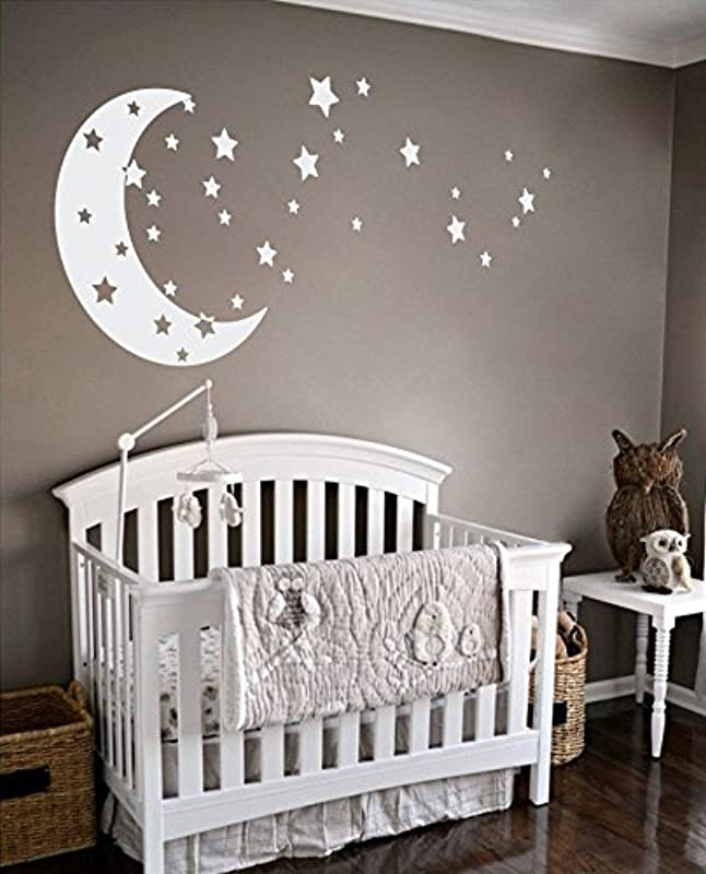 Moon And Stars Night Sky Vinyl Wall Art Decal Sticker Design For Nursery Room DIY Mural Decoration White 30x65 Inches