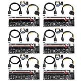 MZHOU PCIe Riser, PCI-E1X a 16X Cable de extensión de Tarjeta Vertical, Cable Custom Custom de 0,6 m USB 3.0 de alimentación SATA de 6 Pines - Tarjeta extensora de GPU- Ethereum Mining Eth(6 Unidades