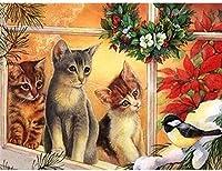 クロスステッチキット-簡単なパターンクロスステッチ刺繡キット-クリスマスギフトを供給-家の装飾のために数えられる刻印-かわいい猫動物16X20インチ