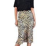 TOPKEAL Falda Casual de Cadera con Cintura Alta para Mujer Falda Larga Print Leopardo de Playa de Estilo Boho de Verano