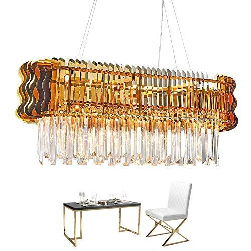 ZCZZ - Lámpara de techo de cristal moderna para lámpara de isla de cocina, rectangular de comedor, iluminación de decoración de casa, LED, lámpara de cristal, luz fría 6000 K, 90 x 35 cm