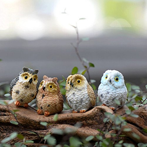 BESTIM INCUK 4-Pack Miniature Fairy Garden Ornament Owls Outdoor Decor Home Decoration