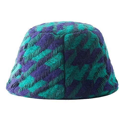 HT LT Sombrero de lana caliente para otoño e invierno para mujer, plegable, resistente al viento, para actividades al aire libre, azul y verde
