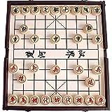 Gobus Juego de ajedrez Chino en una Caja Plegable Juegos de Viaje Juegos de Xiangqi Juegos de Mesa fantásticos para Principiantes y Jugadores de ajedrez (Color de la Caja de Cuero al Azar)