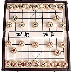 Chinese Chess Set Xiangqi in a Foldable Leather Box Travel Games Sets Board Games