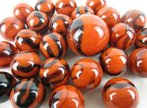 Big Game Toys~25 Glass Marbles Bengal Tiger Orange Black Swirl Classic Style Game Pack (24 Player, 1 Shooter) Decor/Vase Filler/Aquarium