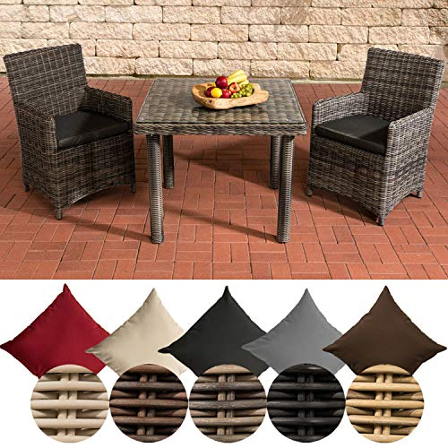 CLP Dorado Polyrattan Dining Set Table with 90 x 90 cm Clear Glass Table Top up to 25 Colour Combinations Including Seat Padding Polyrattan Colour: Grey Mottled Cover Colour: Anthracite