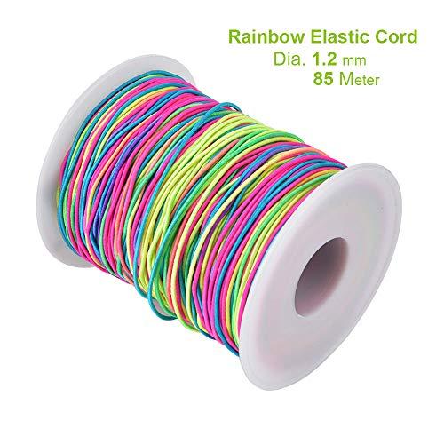 Cordón elástico de 100 metros de 1 mm de hilo de hilo de tela elástica para manualidades con cuentas trenzadas, 1.2mm