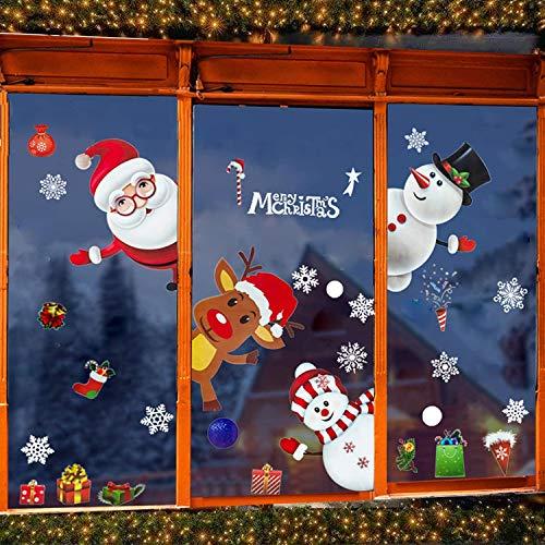 TATAFUN Pegatinas de Ventana Feliz Navidad Papá Noel Muñeco de Nieve Alce Decoración Navideña Pared Extraíble Pegatinas Murales
