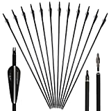 Huntingdoor 12Pcs 30inch Archery Carbon Arrows Replaceable Broadhead Nock Rotatable for Recurve Bow Compound Bow for Target Practice (Black)