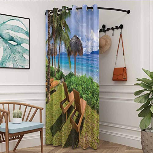 flymeeo 100' W x 108' L Coastal Decor Collection Darkening Curtain 100% Blackout Curtains for Bedroom Sunbeds at Seychelles Coconut Trees and Bungalows Exotic Destinations Distant Hills Picture Green