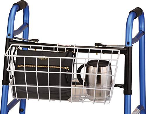NOVA Folding Walker Basket with Cup Holder Bottom Liner Insert, Universal Fit, Easy On and Off