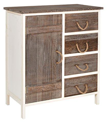 ts-ideen Cómoda estantería de madera bicolor estilo de la alquería rustico shabby para baño pasillo cocina sala con puerta