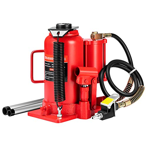 SPECSTAR Pneumatic Air Hydraulic Bottle Jack with Manual Hand Pump 20 Ton Heavy Duty Auto Truck Travel Trailer Repair Lift Red