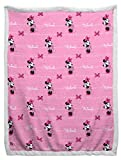 Jay Franco Disney Minnie Mouse Sherpa Back Blanket - Measures 60 x 90 inches, Kids Bedding - Fade Resistant Super Soft (Official Disney Product)