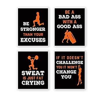 CHDITB Sports Art Print,Inspirational Fitness Quote Wall Art Print,Motivational Workout Bodybuilding Phrases Art Painting  Set of 4 Art Posters(8   x10   )Gym Training Sport Canvas Painting Poster For Gym Home Decor