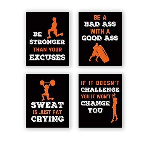CHDITB Sports Art Print,Inspirational Fitness Quote Wall Art Print,Motivational Workout Bodybuilding Phrases Art Painting , Set of 4 Art Posters(8 ' x10 ' )Gym Training Sport Canvas Painting Poster For Gym Home Decor