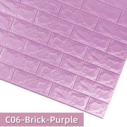 3D Baksteen Muurstickers DIY Decor Zelfklevend Waterdicht Behang voor Kids Kamer Slaapkamer 3D Muursticker Baksteen LxH 70 x 7cm C06-brick-purple