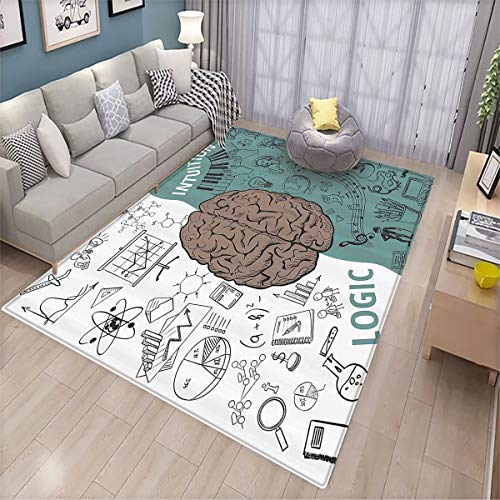 Modern Decor Household Decorative Floor mat Brain Image with Left and Right Side Music Logic Art Side Science Print 6'x7',Can be Used for Floor Decoration