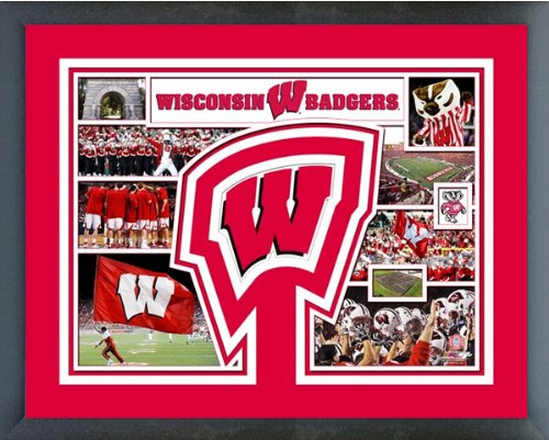 University of Wisconsin Badgers NCAA Framed Photograph Milestone Collage