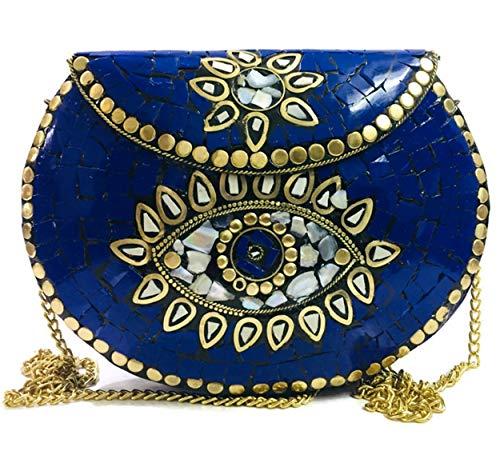 Gauri Mosaico de piedra azul bolsa de metal antiguo embrague étnico indio antiguo monedero partido embrague bolso de las mujeres
