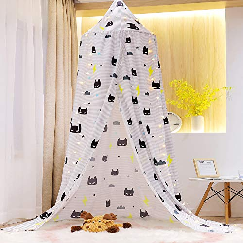 Mengersi Kids Bed Canopy Play Tent for Boys Mosquito Net,Lovely Castle Hanging House Decoration Reading Nook (Gray and Black)