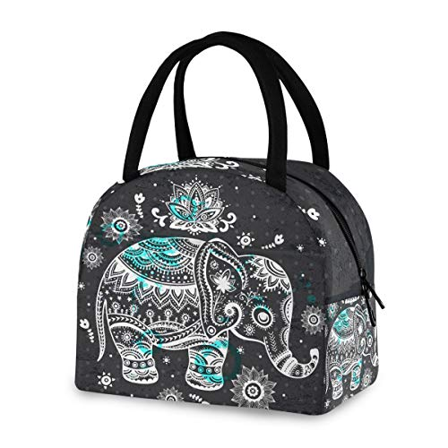 ZZKKO Indian Lotus Ethnic Elephant Lunch Bag Box Tote Organizer Lunch Container Insulated Zipper Meal Prep Cooler Handbag For Women Men Home School Office Outdoor Use