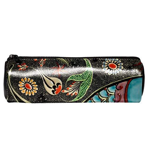 Bolsa de cuero con cremallera para bolígrafo - Organizador de papelería multifunción cosmético de maquillaje de color hermoso carpa china